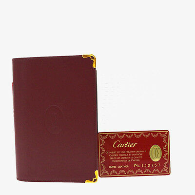 Authentic Must De CARTIER Day Planner Note Cover Leather Bordeaux Spain 07B810