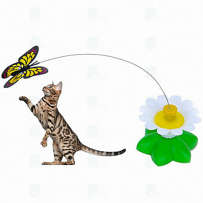 Electric Colorful Rotating Butterfly Cat Toys Pet Teaser Toy For Cats Kitten UK