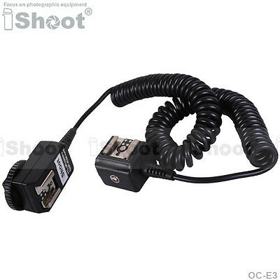 2.5m Flash SYNC E-TTL Off-Camera Double-Hot-Shoe Cord Cable for Canon OC-E3