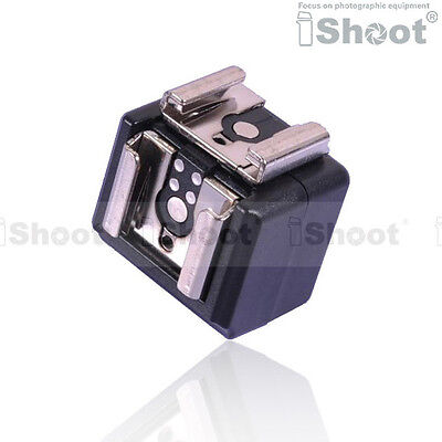 iShoot Dual-Hot Shoe Mount Adapter Flash Trigger with 3.5mm PC SYNC Jack