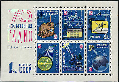 RUSSIA 1965 70th Anniv of Popov's Radio Discoveries, MINI SHEET, MINT N H