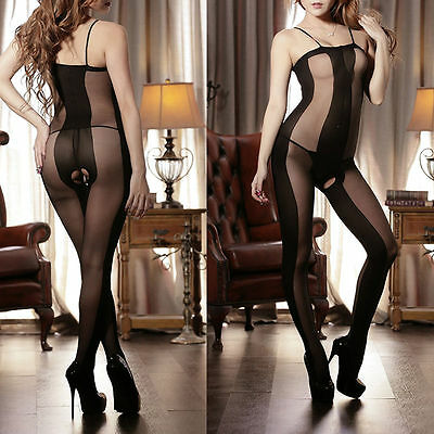 SEXY Dessous BODY Catsuit Schwarz ouvert Stretch NETZ Fishnet Stocking ONE SIZE