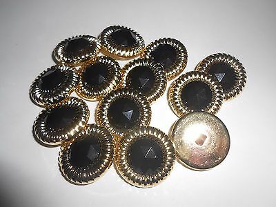 M95 * 12 Gold & Black Sparkle Resin Shank Buttons * New * 25Mm