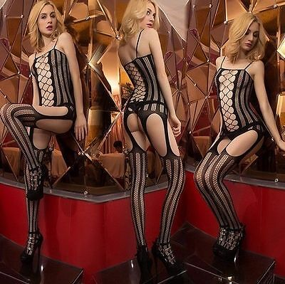 SEXY Dessous BODY Catsuit Schwarz  Stretch NETZ Fishnet ONE SIZE ouvert