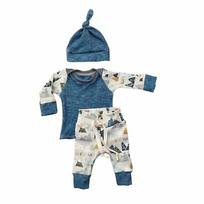 3Pcs/Set Infant Baby Boy Pattern T-shirt Top+Pants+Hat  Outfits Clothes 0-18M AU