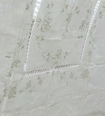 Beautifully Embroidered Linen Tablecloth Antique Wedding Bow Banquet