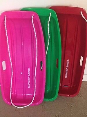 "4 x TOBOGGAN ""SLIPPERY RACER""  BRAND NEW- PINK, RED, GREEN all ONLY $70 AWESOME!"