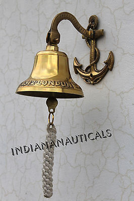 Door Bell Wall Hanging Bell Vintage Marine Nautical Brass Anchor Ship Calling.