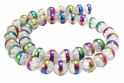 Crystal Balls 10 mm cracked & with Rainbow-Stripes Beads MOUNTAIN-52