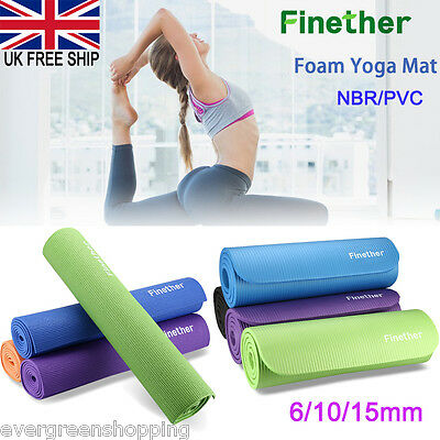Yoga Mat 6/10/15mm Thick Exercise Fitness Physio Pilates Gym Mats Non Slip Soft