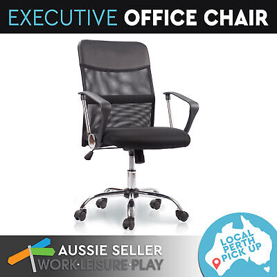 New Executive Office Computer Chair Work Seat Recliner Mesh Black PU Leather
