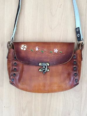 Vintage 70's Brown Leather Bag With Tooled Flowers - VTG Retro From Mexico
