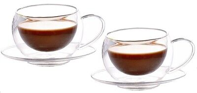 Bodum Pavina level quality pack of 2 Double Wall Glass cups with saucers, 150ml.