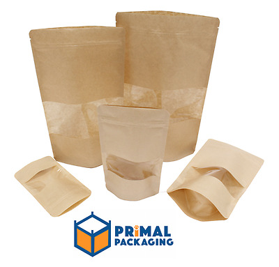 100 x Kraft Stand Up Pouch with Product Window - FOUR SIZES AVAILABLE -