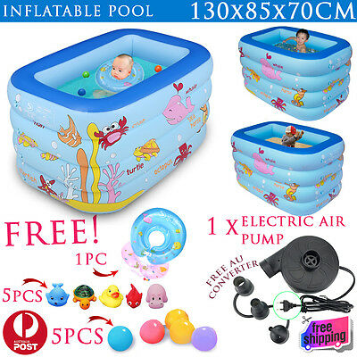 New Baby 4 Rings Inflatable Swimming Pool Sandpit Ball Pit Free Air Pump 130cm