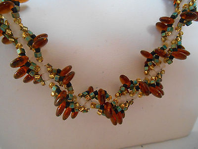 """Vintage Costume Jewellery Necklace Multi Tone Glass Beads Loop/Bar Clasp 20.5"""""""