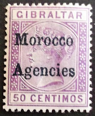 (A064) Gibraltar Issue 1898 50c Blue-Black opt #6c (1) MH.