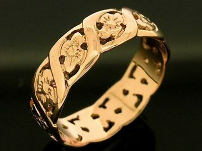 R009 - Genuine SOLID 9ct Rose Gold Blossom FULL Eternity Ring size U / 10.25