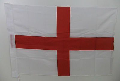 ENGLAND - ST GEORGE CROSS FLAG (3 x 2 ft) -with sleeve for pole & ties at bottom