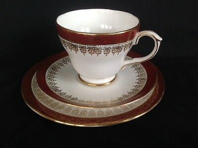 DUCHESS China ~*Winchester*~1 Trio- CUP, SAUCER & TEA PLATE- Maroon- 2 Available