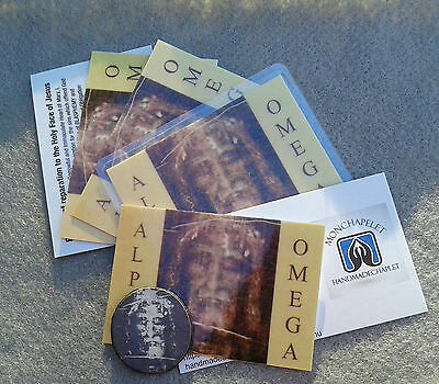 Holy card wallet size Holy Face Jesus laminated with bl. oil of HF