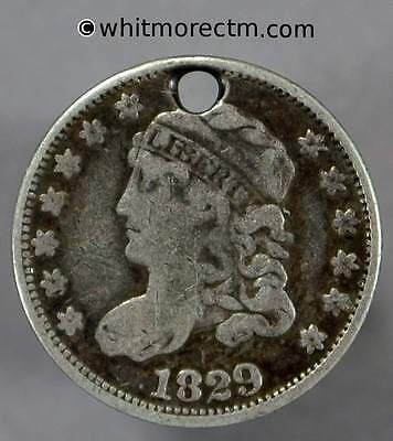 1829 USA 5 Cent Liberty Cap Half Dime - Pierced F12