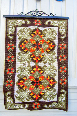Big Hand Embroidered Tapestry NORWEGIAN Wall Hanging Mid Century Folk Art NORWAY
