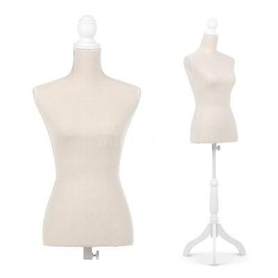 Female Mannequin Torso Dress Clothing Form Display W/Tripod Standing Beige M8A9
