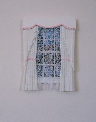 Dolls House Curtains Cream & Pink  Swag Effect