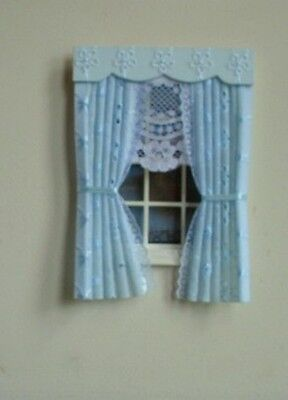 Dolls House Curtains Blue Broderie Anglaise