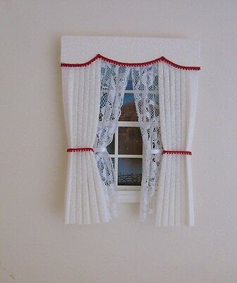 Dolls House Curtains Cream & Red With Tied Back Nets