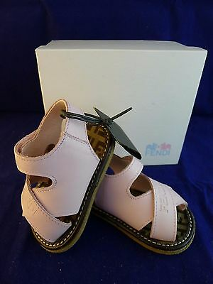 Genuine, new with box Fendi baby girl leather pink sandals size 17