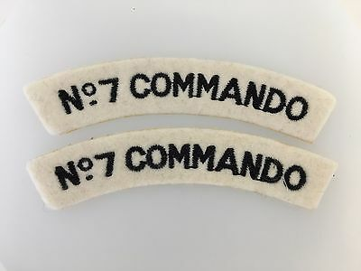 PAIR of Britain/British Army WWII 'No 7 Commando' cloth shoulder titles