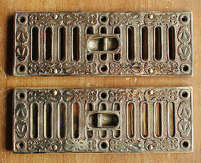 "9"" x 3"" SOLID CAST BRASS OPEN CLOSE AIR VENT VICTORIAN ANTIQUE BRITISH - AV3br"