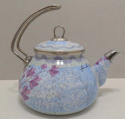 Enameled Rataly Turkish Tea Kettle Tea Pot Blue with Purple Flowers