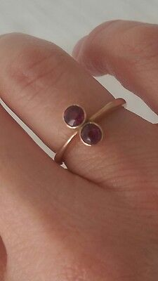 Victorian rose gold two stone garnet ring