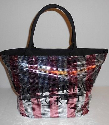 Victoria's Secret Pink Stripe Sequence Tote Duffle Shopping Large Zip Top Bag