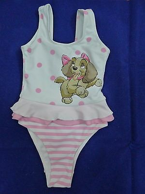 """NWT Monnalisa""""Lilli"""" baby girl white/pink swimsuit size 24 months, H 92cm"""