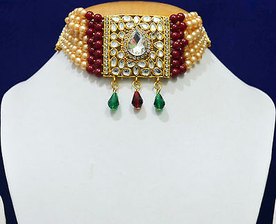 South Indian Traditional Wedding Necklace Pearl Jewelry Set Free Shipping WN102