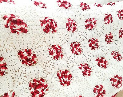 "Handmade Red and White ROSETTES Large Afghan Granny Squares Blanket 100"" x74"""