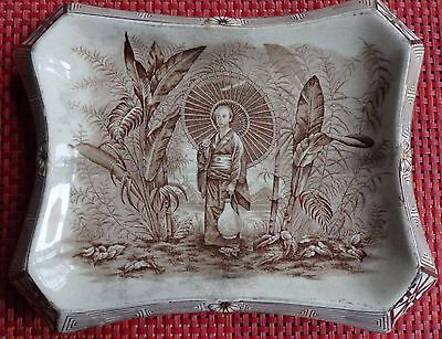 1894 Victorian Antique Gold Gilded Burleigh Ware Chinoiserie Scene Dish / Plate
