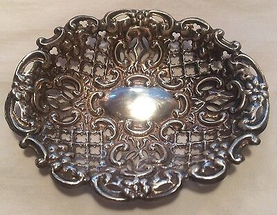 Antique English Sterling Silver Bon Bon Nut Dish T.H Hazelwood Birmingham 1897