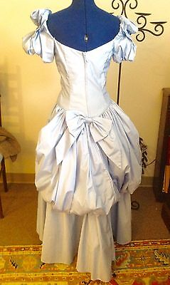 S XS Baby Blue Victorian Romantic Bustle Dress Gown Off Shoulder Crinoline Prom