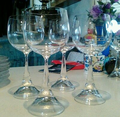 Set of four Rosenthal Clairon studio line Crystal wine stems hollow base