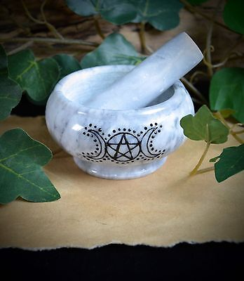 Mortar & Pestle Grey Marble Wicca Pagan Gift incense witchcraft