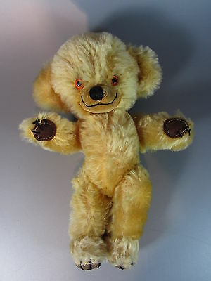 """Plush CHEEKY teddy BEAR mohair jointed bells in ears 9½"""" MERRYTHOUGHT England"""