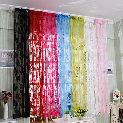 Butterfly Tulle Window Curtain Voile Drape Sheer Scarf Home Decoration DIY