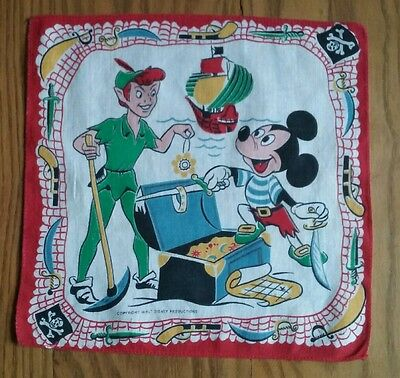 Vintage Child's Hanky ~ Walt Disney ~ Mickey Mouse & Peter Pan ~ Pirate Ship