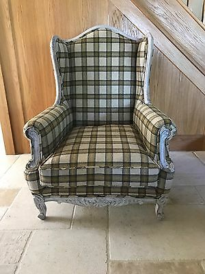 Pair Available - 1 x Antique French Armchair Fireside Chairs Cream Mustard Check