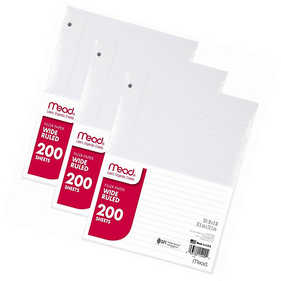 Mead Filler Paper, Loose Leaf Paper, 200-Count, Wide Ruled, 10.5 Inches x 8 Inch